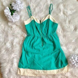 Turquoise & Lace Little Summer Zipper Front Dress
